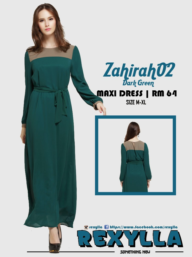 rexylla, maxi dress, zahirah02, dark green