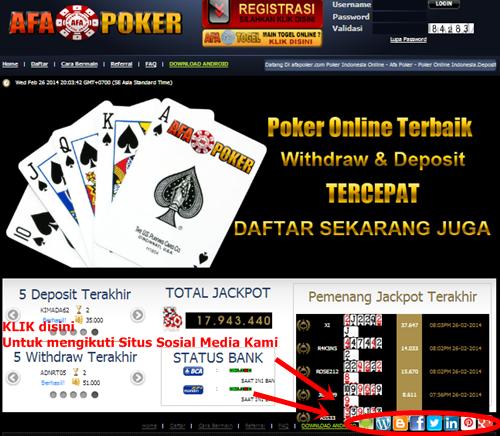 Afapoker.com - Poker Online Indonesia - Poker Online Asia