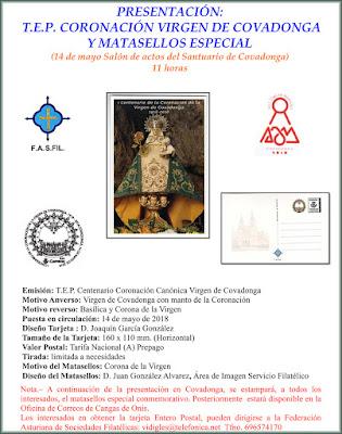 Cartel de presentación del matasellos y tarjeta prefranqueada de la coronación de la Virgen de Covadonga