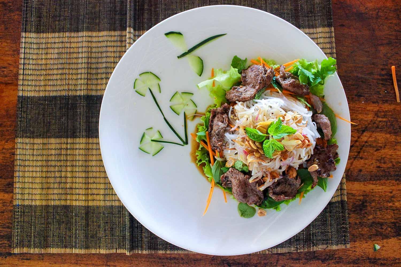 bun bo nam bo southern style vietnamese beef vermicelli on plate