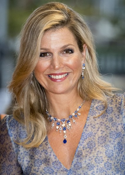 Queen Maxima wore Luisa Beccaria Organza Printed Wide Sleeves Dress - Spring 2017 RTW Collection. Guglielmo Rotta shoes