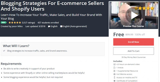 [100% Off] Blogging Strategies For E-commerce Sellers And Shopify Users| Worth 99,99$