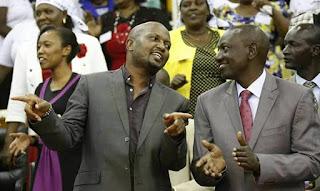 Moses Kuria and DP William Ruto in a church in Gatundu. PHOTO   Courtesy