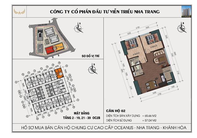 Sơ đồ căn hộ số 02 tòa OC2B Viễn Triều Nha Trang