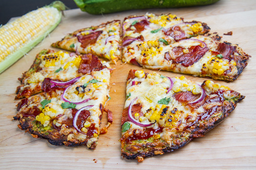 Chipotle BBQ Bacon and Grilled Corn Zucchini Crust Pizza
