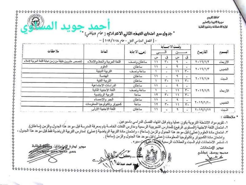 جدول امتحانات الصف الثاني الاعدادي 2019 محافظة الفيوم