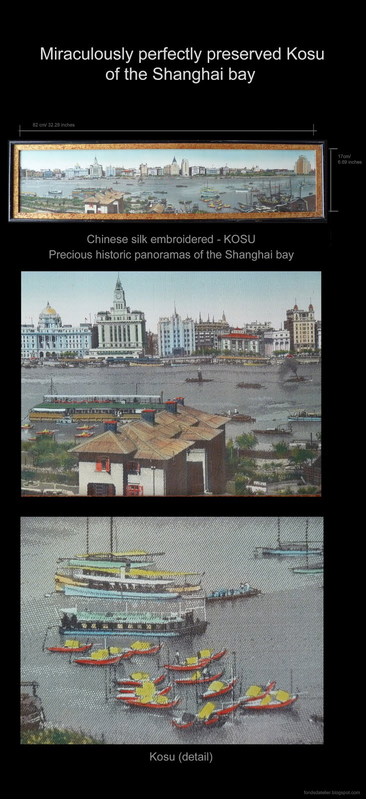 'The Bund of Shanghai', silk. Kosu China