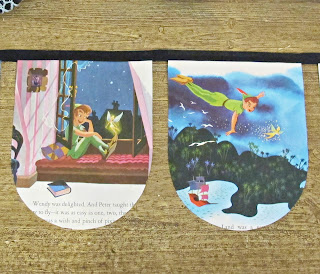 image peter pan bunting wendy captain hook handmade domum vindemia etsy upcycling upcycled banner garland