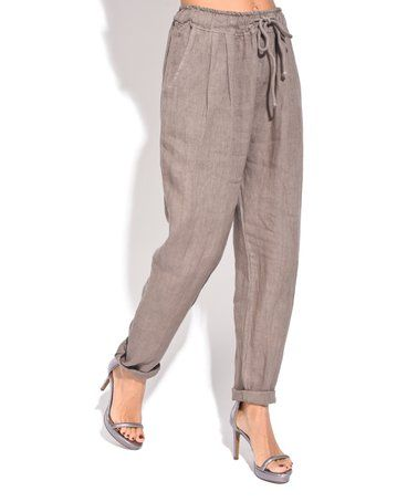 Couleur Lin | Brown Cuffed Linen Straight Leg Pants   $15.29 USD