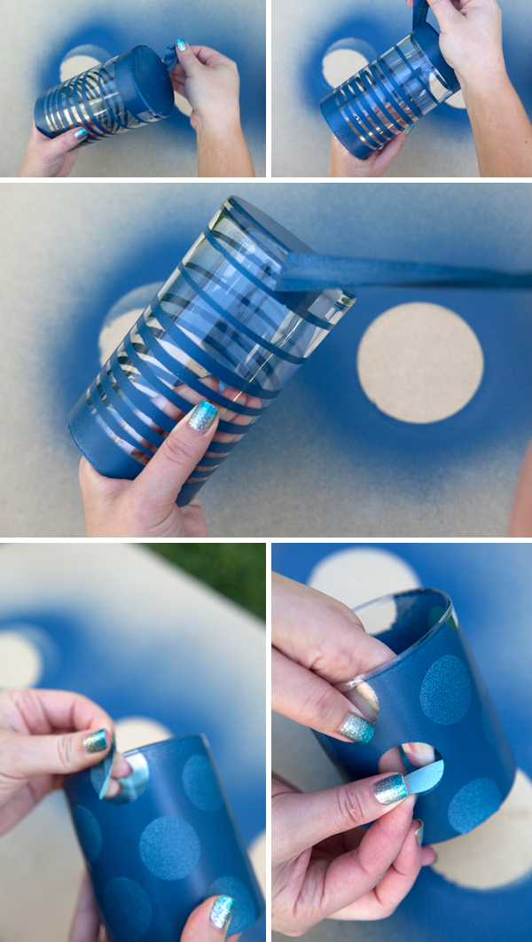 How to make painted frosted glass jars crazzy craft for What kind of paint do you use to paint glass