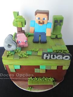 Bolo de aniversário Minecraft bragança doces opções