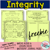 Here is a set of FREE morning meeting resources for your upper elementary students. They'll learn about integrity, honesty, and protecting their reputation through the books, ideas, quotes, and more at this blog post. This freebie is great for your 3rd, 4th, 5th, and 6th grade classroom or homeschool students. Build a stronger classroom culture and a community of kindness with this download. You add the picture books and you have everything you need to get started!