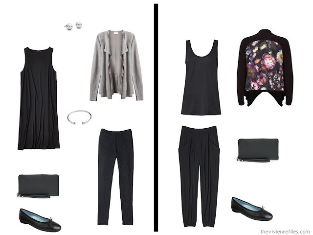 Two outfits from A Travel capsule wardrobe in black for a long weekend trip in one carry-on bag