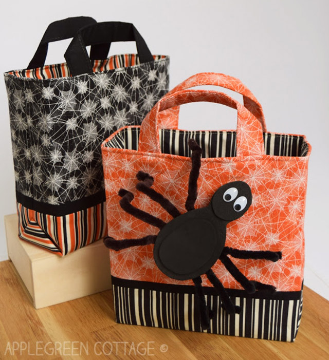 Learn how to make a kid sized halloween trick or treat bag Free pattern by Apple Green Cottage uses fabric.