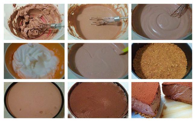 Preparación de la tarta mousse de queso y cacao sin azúcar