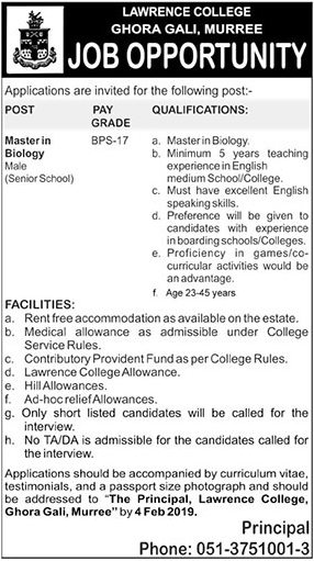 Jobs Vacancies Announces In Lawrence College Ghora Gali Murree At 18 January 2019