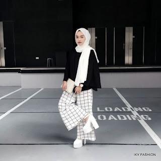 model Celana Kulot Kotak Kotak cewek hijabers