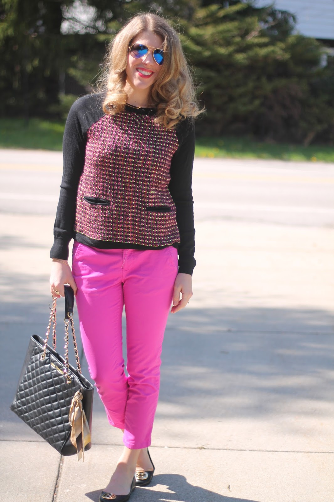 J.Crew pink and black tweed sweater, pink ankle pants, Tory Burch Revas, Greg Michaels black leather quilted tote, Ray Ban aviators