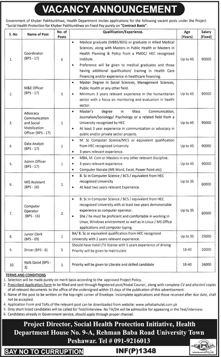 Jobs In Health Department Govt Of KPK March 2018 for Computer Operators and Others