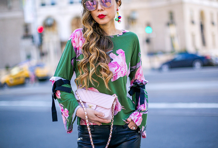 Topshop floral tie sleeve top, blank denim moto pants, chanel mini flap bag, pink chanel bag, christian louboutin pink pumps, quay sunglasses, spring outfit ideas, san francisco fashion blog, san francisco street style