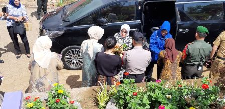 Hj. Mufidah Jusuf Kalla, Tinjau Kebun Bunga Krisan di Kab Gowa