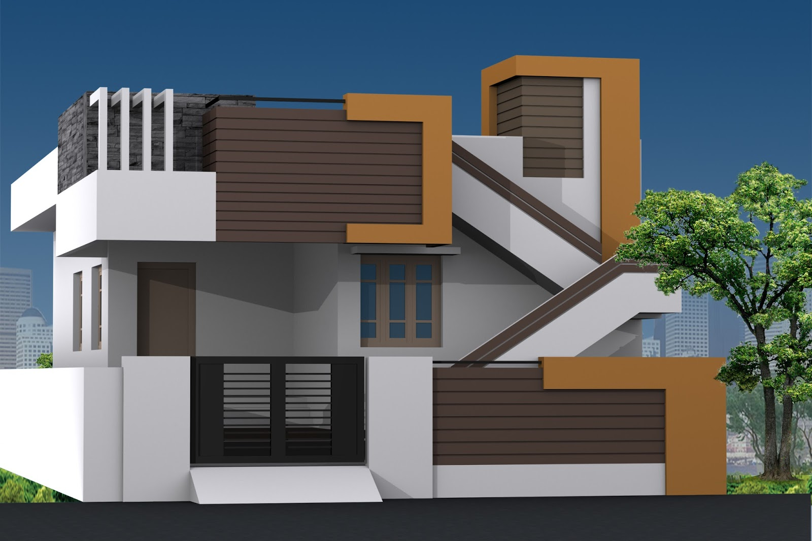 Single Floor Building Front Elevation : Single floor building elevation work thefloors