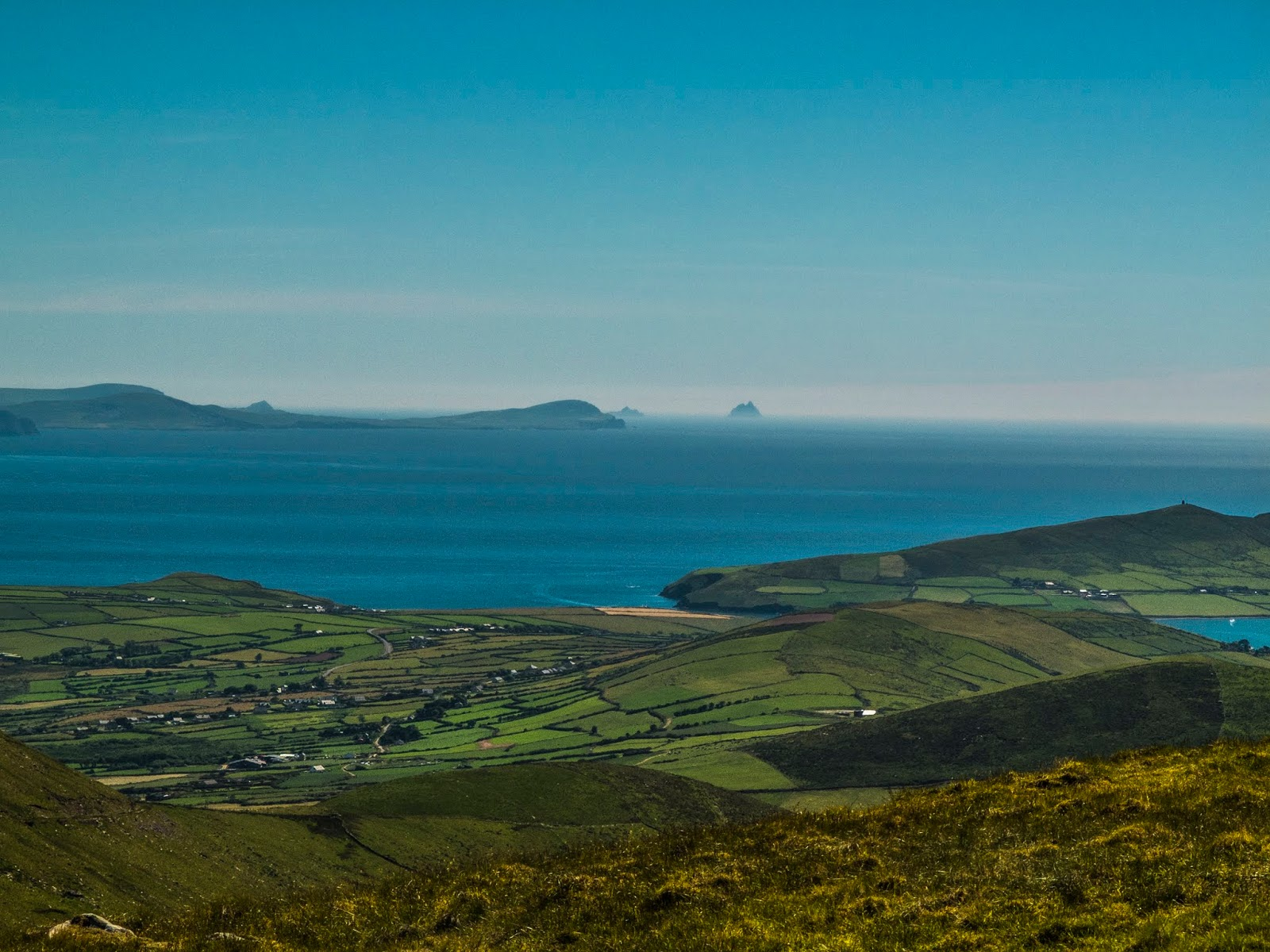 View of the Iveragh Peninsula and the Skellig Islands from Conor Pass.