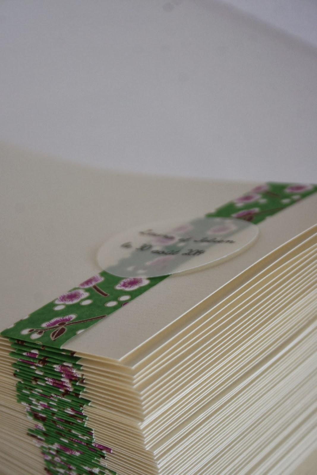 faire-part mariagechampêtre papier japonais fait main cadeau invité