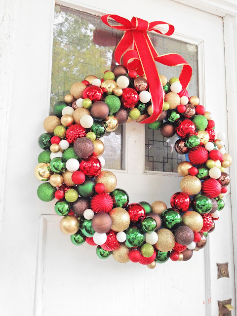 Christmas Ornament Decorations Holidays Ornaments Decor DIY Wreath Ribbon Bow Red Green Gold Front Door Outside