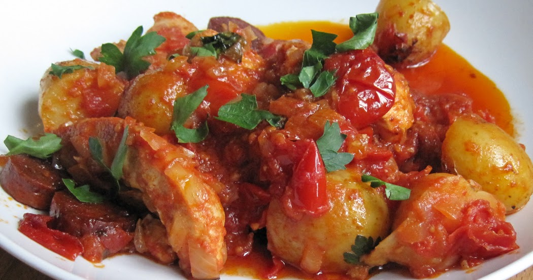 Patatas Bravas with Chicken and Chorizo - A Glug of Oil