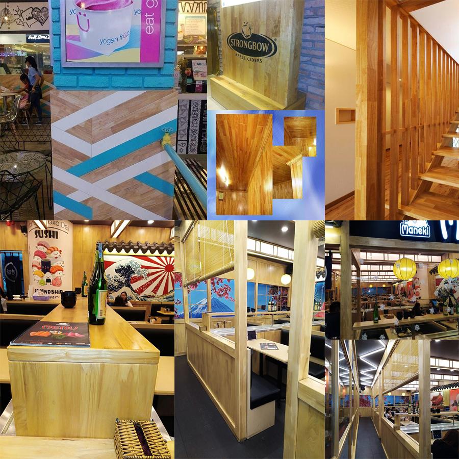 Gỗ cao su, ốp tường, ốp trần, trang trí quán kem, cà phê, quán ăn