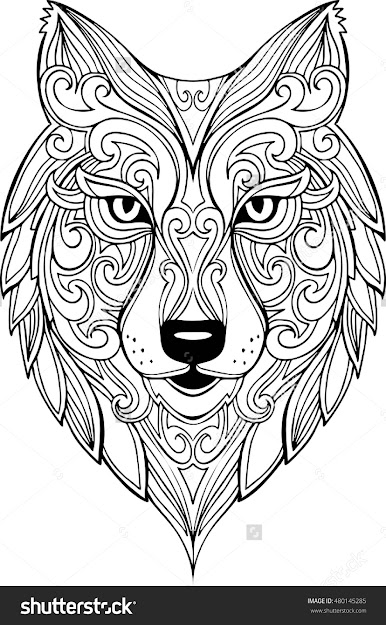 Vector Hand Drawn Doodle Wolf Head Illustration Zentangle Decorative Wolf  Head Drawing For Coloring Book