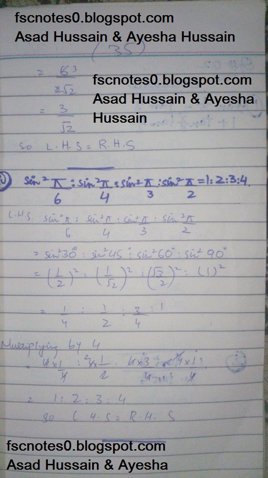 FSc ICS FA Notes Math Part 1 Chapter 9 Fundamentals of Trigonometry Exercise 9.3 Question 1 by Asad Hussain & Ayesha Hussain 2