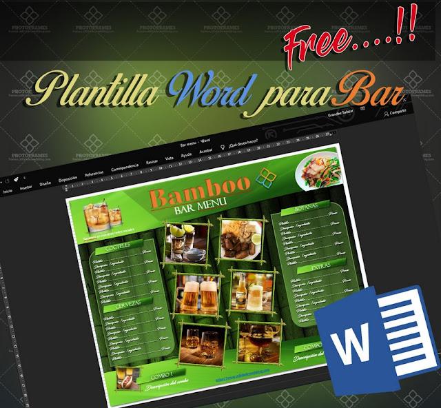 Plantilla para crear menú para restaurante y bar en Office Word gratis