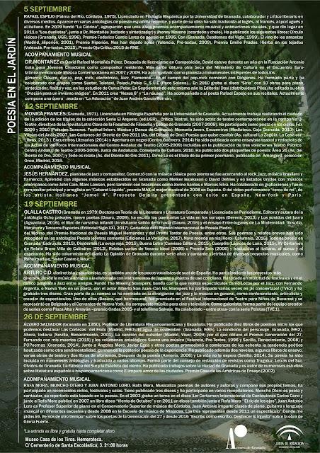 Programa 2017 Poesía en el Jardín, Granada