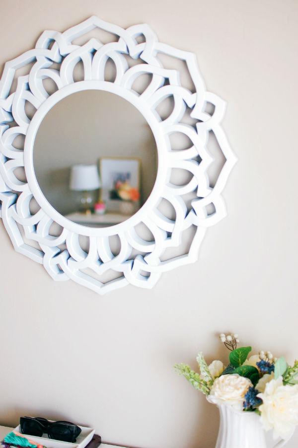 Ornate mirror in master bedroom