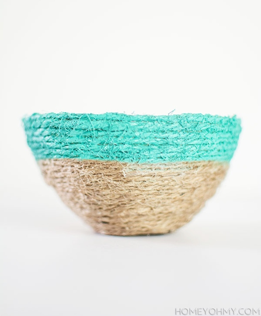 DIY Jute Rope Bowl Painted Turquoise