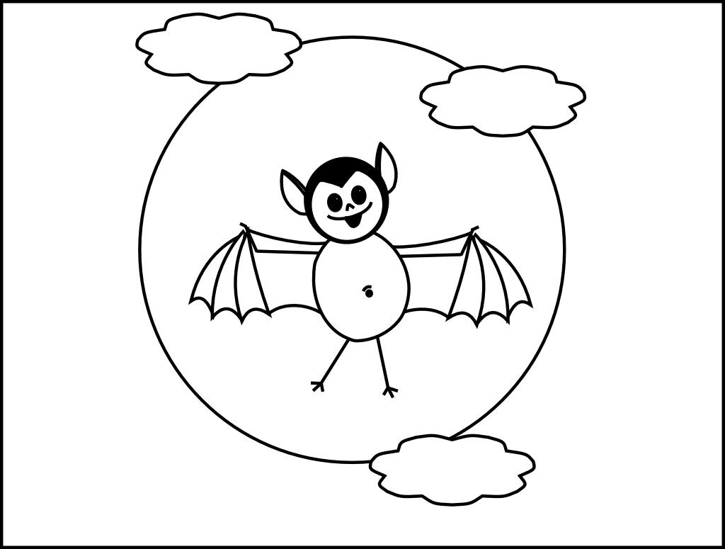 Smarty Pants Fun Printables Printable Bat And Moon Halloween Coloring Page
