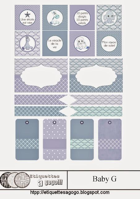 Animales de Juguete: Etiquetas en Varios Colores para Baby Showers.