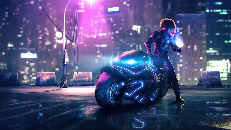 Cyberpunk Girl Motorcycle 4k Wallpaper 6 755