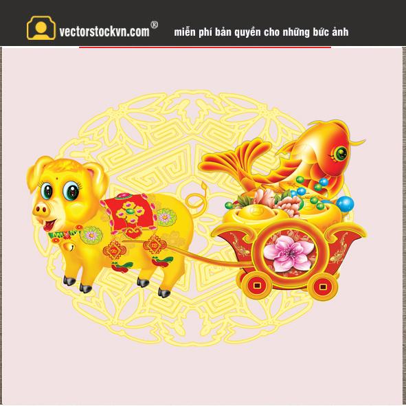 Vector Heo Kéo Xe Vàng