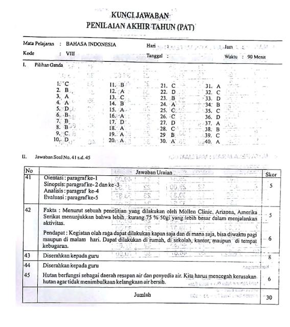 Soal dan Kunci Jawaban Latihan Soal PAT Bahasa Indonesia Kelas  LATIHAN SOAL PAT BAHASA INDONESIA KELAS 8 Sekolah Menengah Pertama MTS KURIKULUM 2019