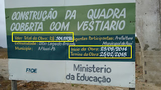 Na zona rural de Picuí, obra com custos acima de Meio milhão de Reais está parada