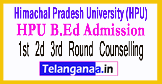 HPU B.Ed Admission 2018 1st 2d 3rd Round Counselling