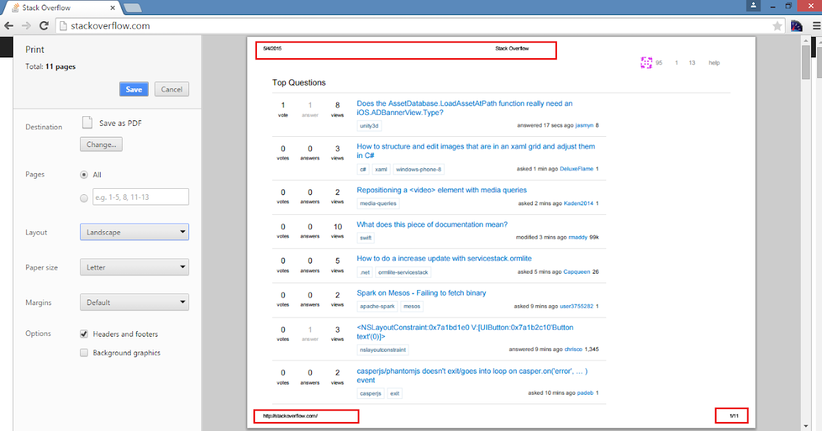 Remove Header & Footer from Print Preview in Google Chrome
