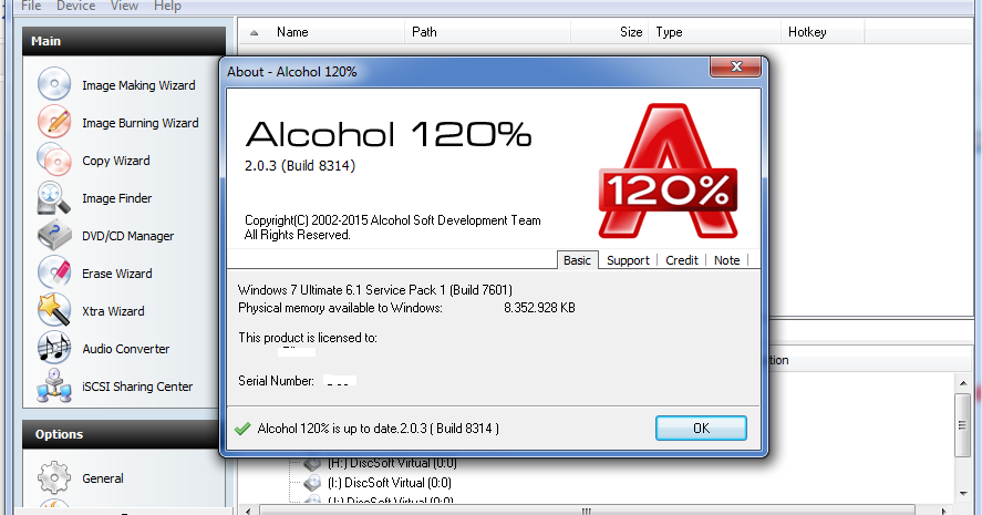 Скачать ключ к alcohol 120