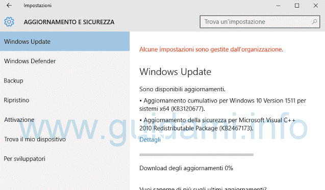 Download aggiornamenti Windows Update in Windows 10