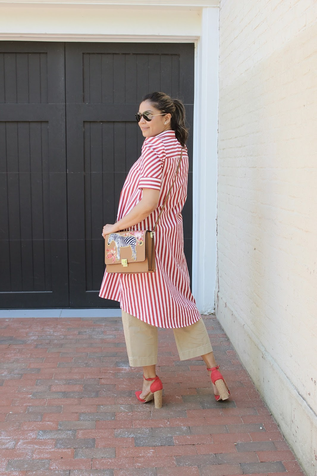 earn your stripes, how to wear dress over jeans, street style, fashion , ootd, wide leg culottes, red white and tan, saumya shiohare