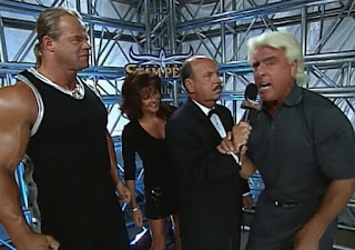 WCW Spring Stampede 2000 - Ric Flair, Lex Luger and Elizabeth talk to Mean Gene Okerlund