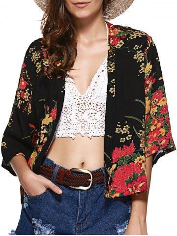 Collarless Floral Short Kimono